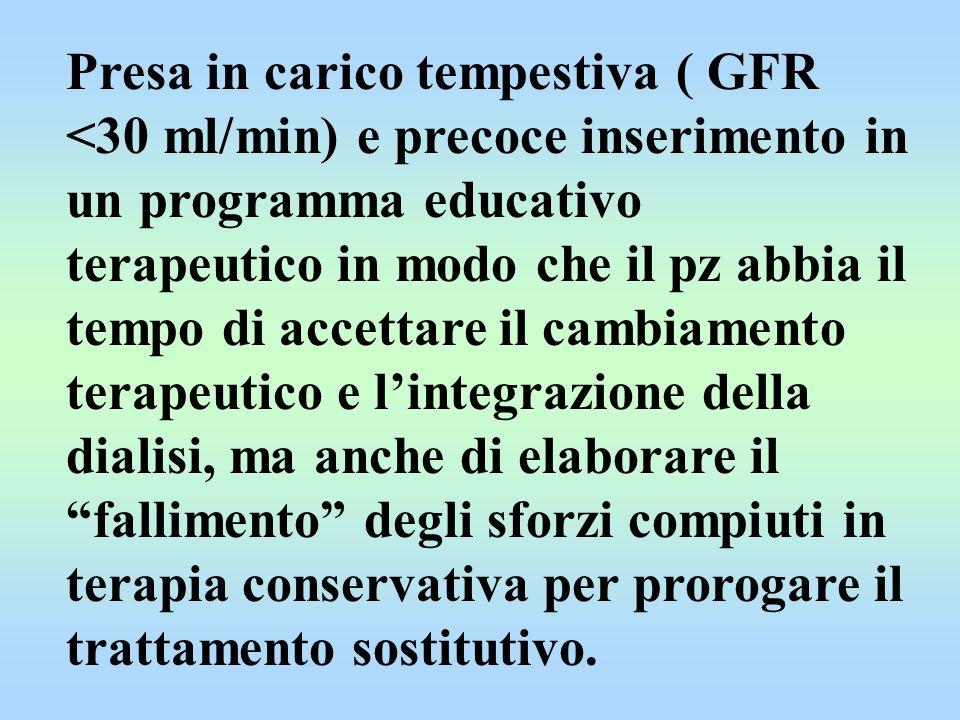 Presa in carico tempestiva ( GFR <30 ml/min) e precoce inserimento in un programma educativo terapeutico in modo che il pz abbia il tempo di accettare