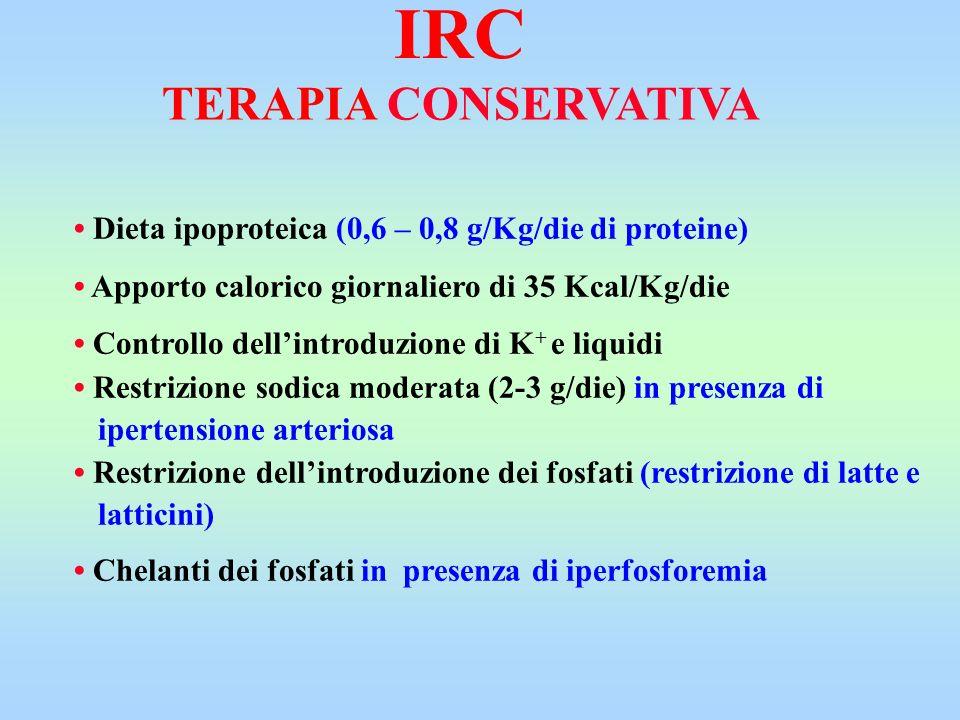 TERAPIA CONSERVATIVA Dieta ipoproteica (0,6 – 0,8 g/Kg/die di proteine) Apporto calorico giornaliero di 35 Kcal/Kg/die Controllo dellintroduzione di K