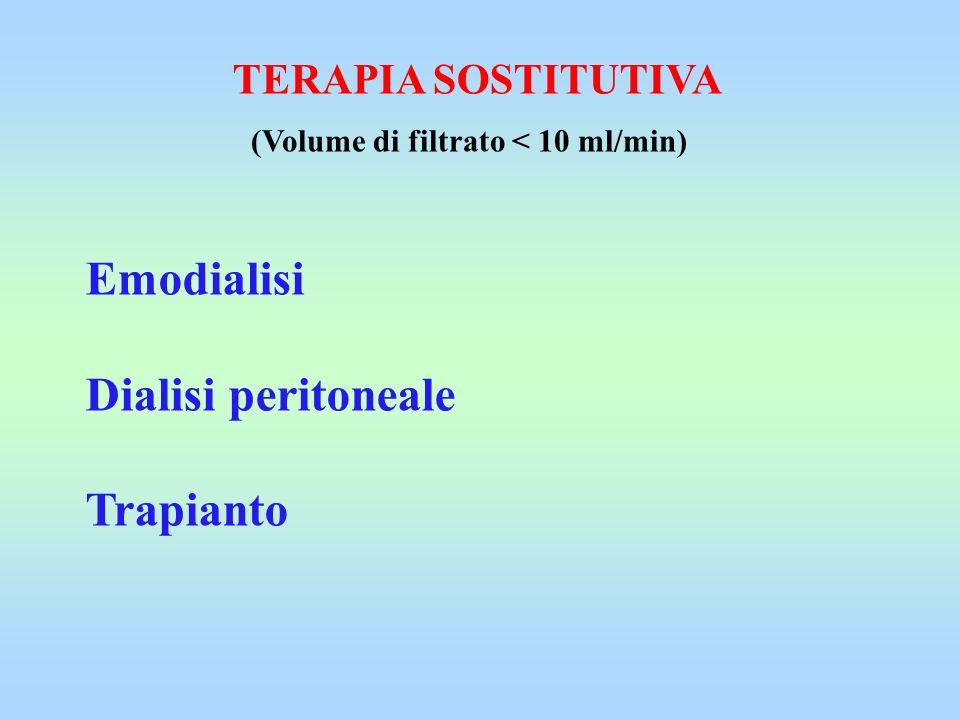 Emodialisi Dialisi peritoneale Trapianto TERAPIA SOSTITUTIVA (Volume di filtrato < 10 ml/min)