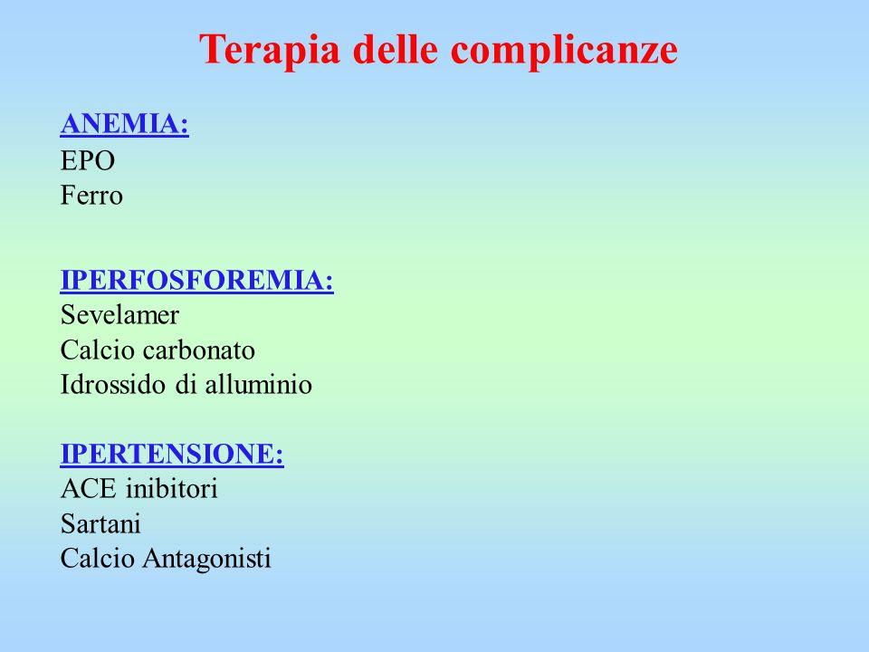 Terapia delle complicanze ANEMIA: EPO Ferro IPERFOSFOREMIA: Sevelamer Calcio carbonato Idrossido di alluminio IPERTENSIONE: ACE inibitori Sartani Calc