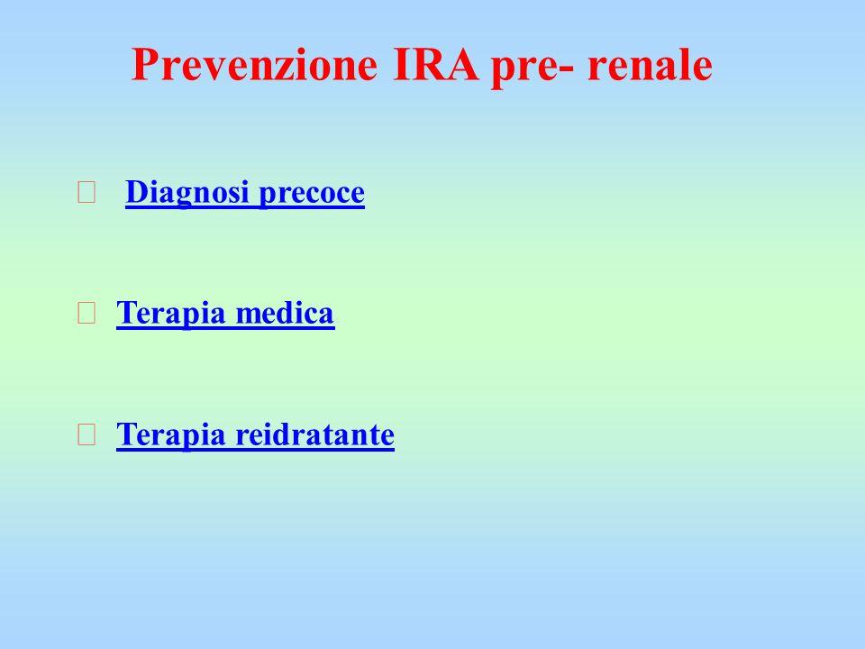 Prevenzione IRA pre- renale  Diagnosi precoce  Terapia medica  Terapia reidratante