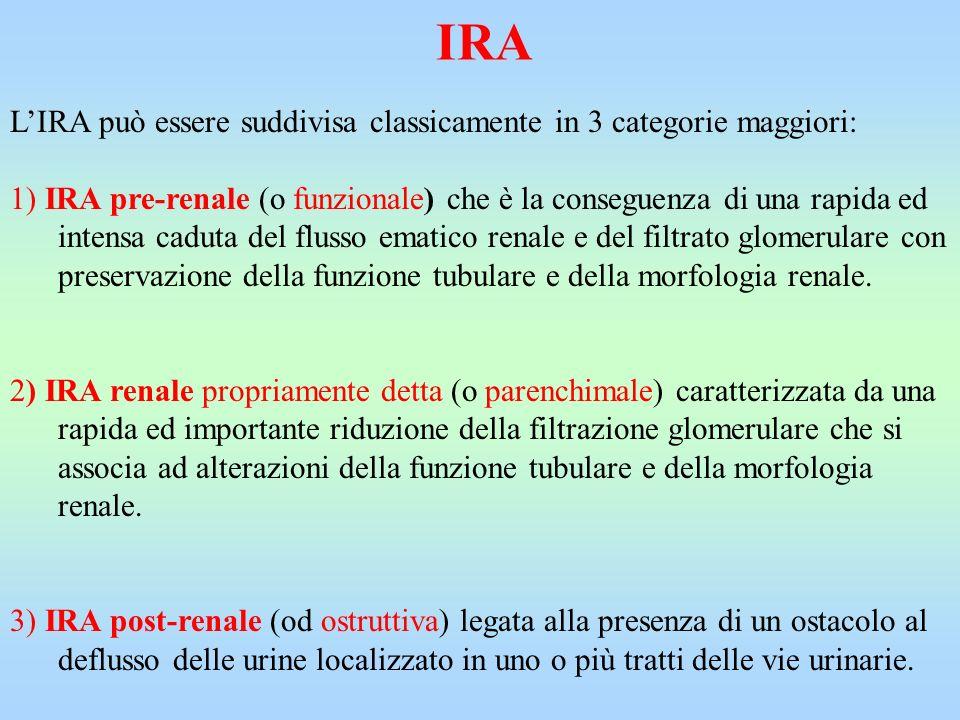 IRA LIRA può essere suddivisa classicamente in 3 categorie maggiori: 1) IRA pre-renale (o funzionale) che è la conseguenza di una rapida ed intensa ca
