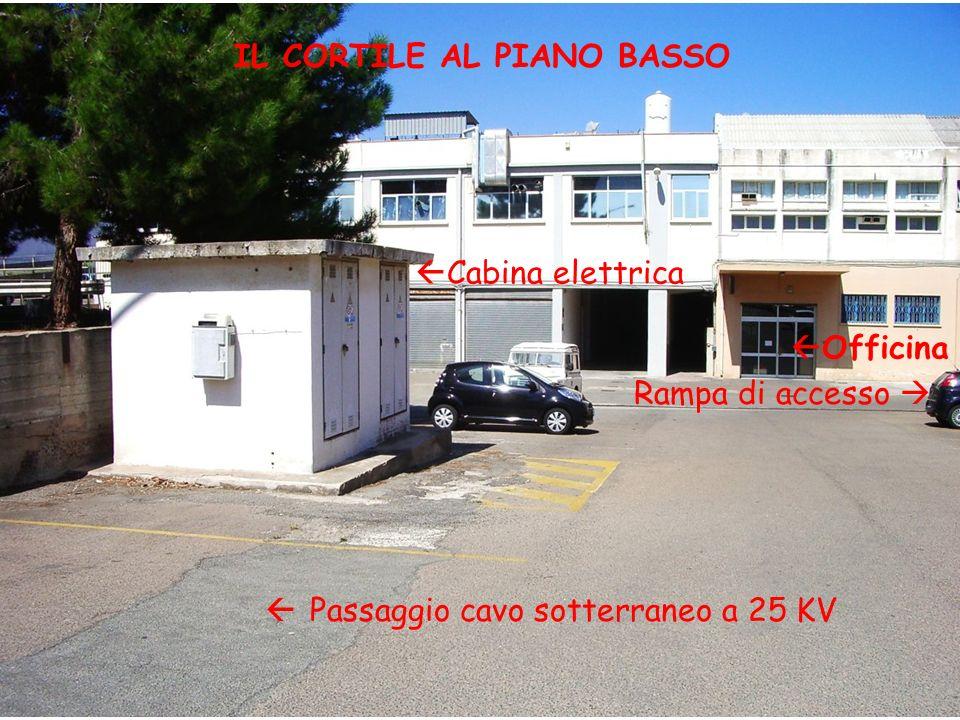 Cabina elettrica Officina Passaggio cavo sotterraneo a 25 KV IL CORTILE AL PIANO BASSO Rampa di accesso