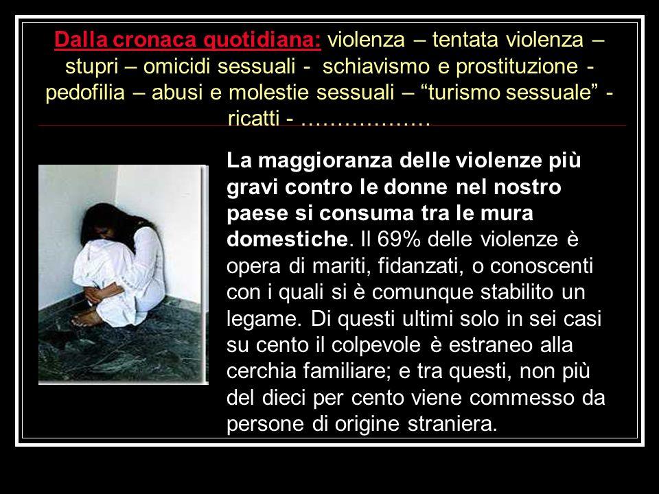 La maggioranza delle violenze più gravi contro le donne nel nostro paese si consuma tra le mura domestiche. Il 69% delle violenze è opera di mariti, f