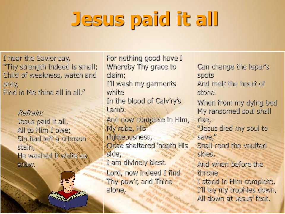 I hear the Savior say, Thy strength indeed is small; Child of weakness, watch and pray, Find in Me thine all in all. Refrain: Jesus paid it all, All t