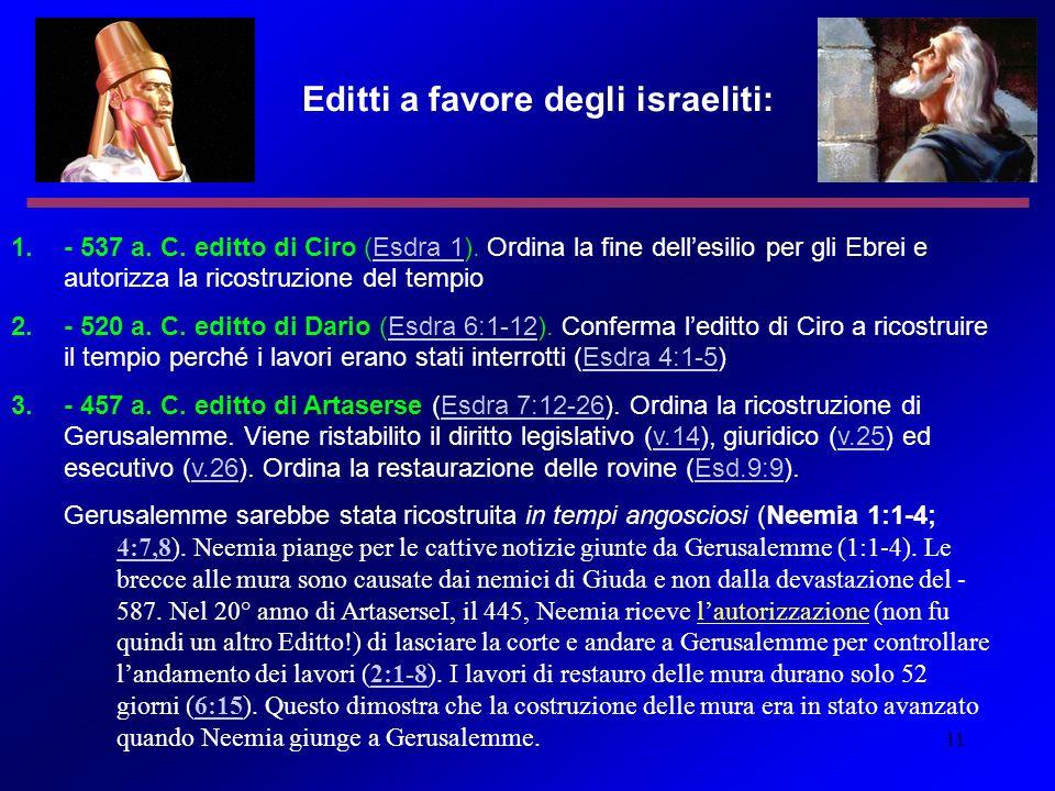 11 Editti a favore degli israeliti: 1.- 537 a. C. editto di Ciro (Esdra 1). Ordina la fine dellesilio per gli Ebrei e autorizza la ricostruzione del t