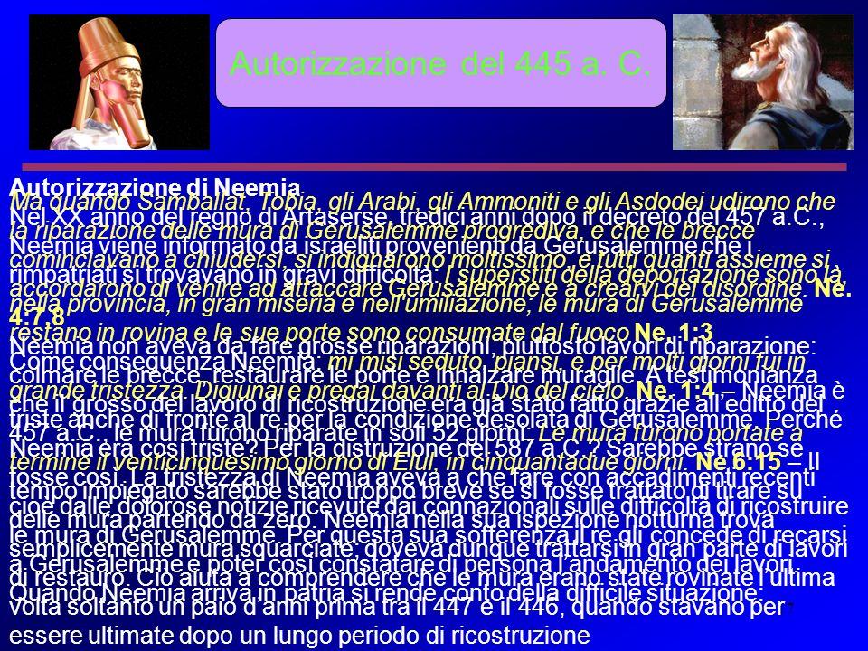 17 Autorizzazione del 445 a. C. Autorizzazione di Neemia Nel XX anno del regno di Artaserse, tredici anni dopo il decreto del 457 a.C., Neemia viene i