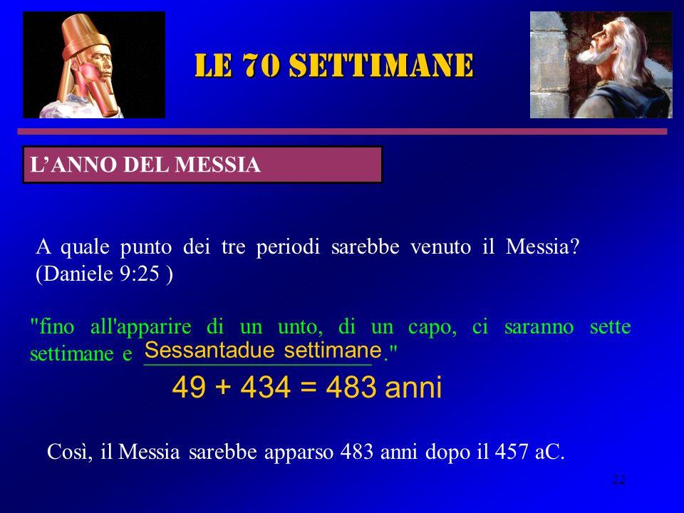 22 le 70 settimane A quale punto dei tre periodi sarebbe venuto il Messia? (Daniele 9:25 )