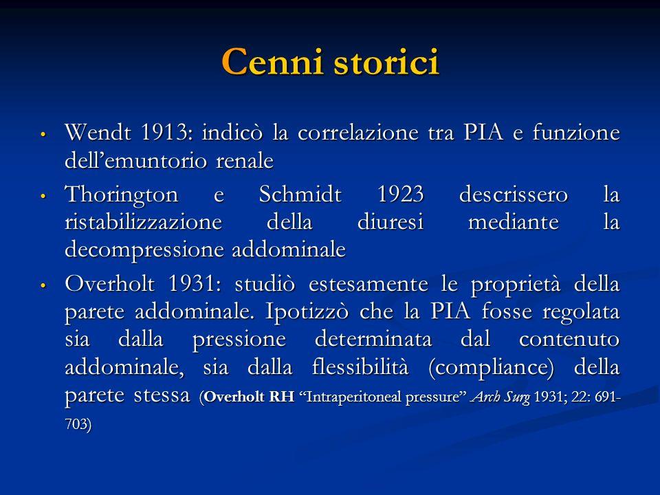 Cenni storici Wendt 1913: indicò la correlazione tra PIA e funzione dellemuntorio renale Wendt 1913: indicò la correlazione tra PIA e funzione dellemu