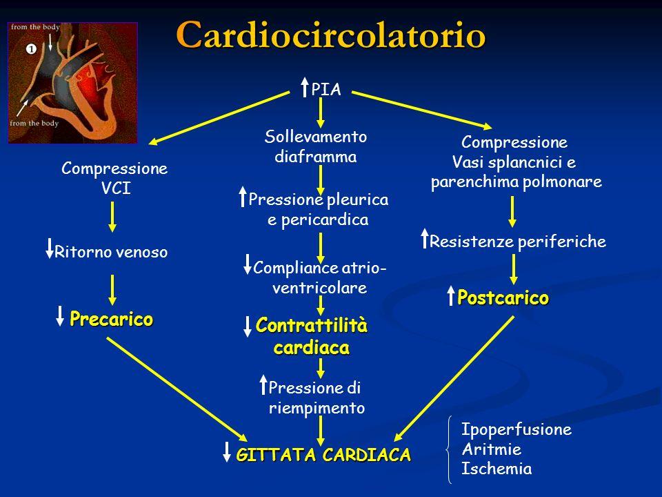 Cardiocircolatorio PIA Compressione VCI Sollevamento diaframma Compressione Vasi splancnici e parenchima polmonare Ritorno venoso Precarico Pressione
