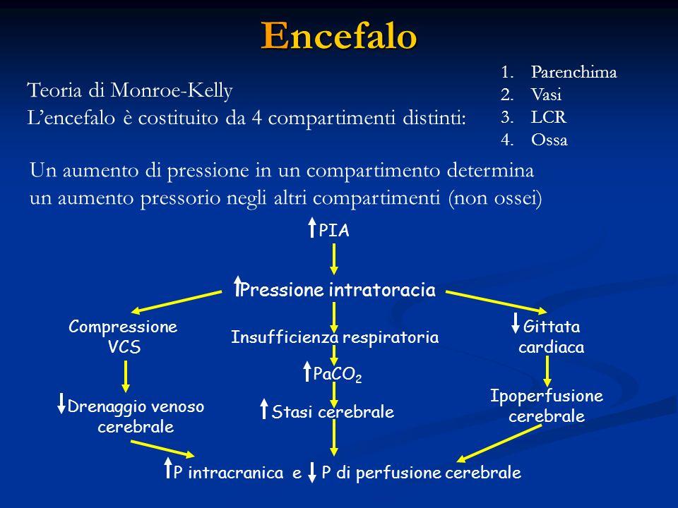 Encefalo Teoria di Monroe-Kelly Lencefalo è costituito da 4 compartimenti distinti: 1. Parenchima 2. Vasi 3. LCR 4. Ossa Un aumento di pressione in un