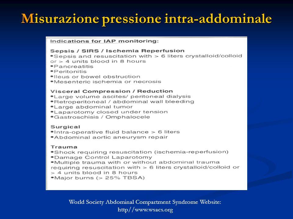 Misurazione pressione intra-addominale World Society Abdominal Compartment Syndrome Website: http//www.wsacs.org