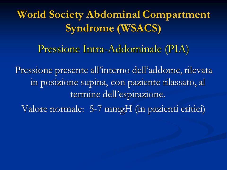 World Society Abdominal Compartment Syndrome (WSACS) Pressione di Perfusione Addominale (PPA) Calcolata sottraendo il valore della PIA alla Pressione Arteriosa Media (PAM) PPA= PAM - PIA Valore di riferimento > 60mmHg Acta Clin Belg 2007;62-Suppl 1:44-59