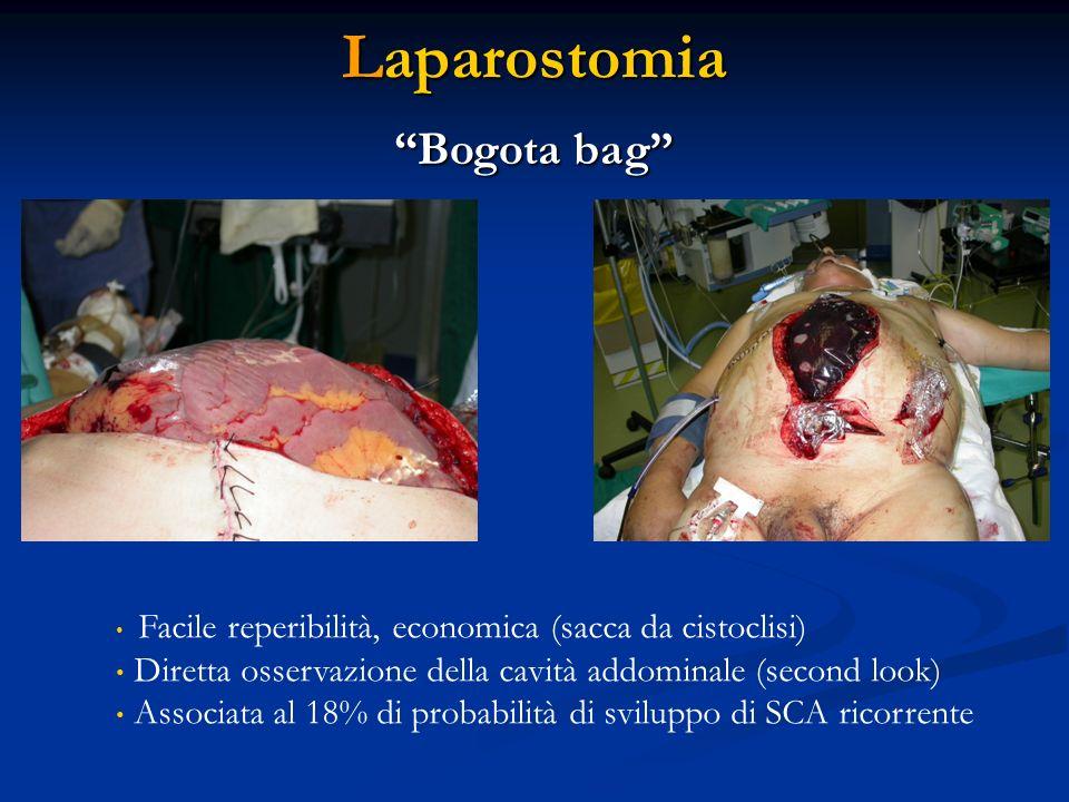 Laparostomia Bogota bag Facile reperibilità, economica (sacca da cistoclisi) Diretta osservazione della cavità addominale (second look) Associata al 1