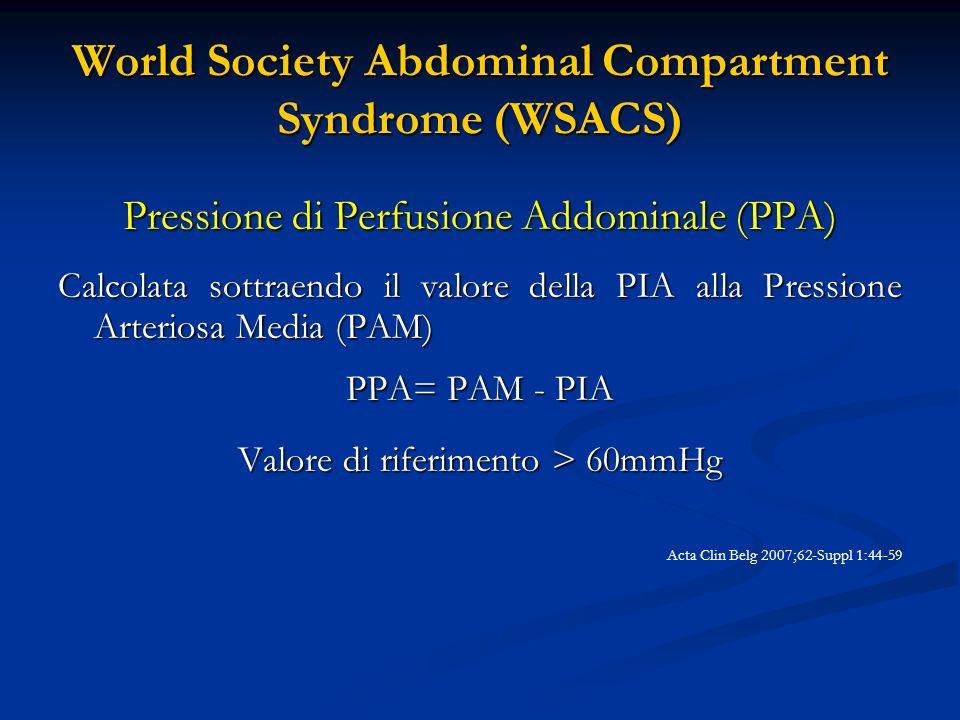 World Society Abdominal Compartment Syndrome (WSACS) Ipertensione Intra-Addominale (IIA) Aumento della pressione addominale >12 mmHg, rilevata in almeno due misurazioni Acta Clin Belg 2007;62-Suppl 1:44-59