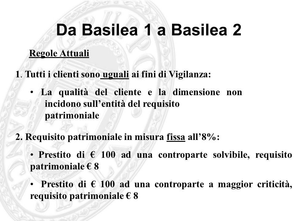 Da Basilea 1 a Basilea 2 Regole Attuali 1. Tutti i clienti sono uguali ai fini di Vigilanza: La qualità del cliente e la dimensione non incidono sulle