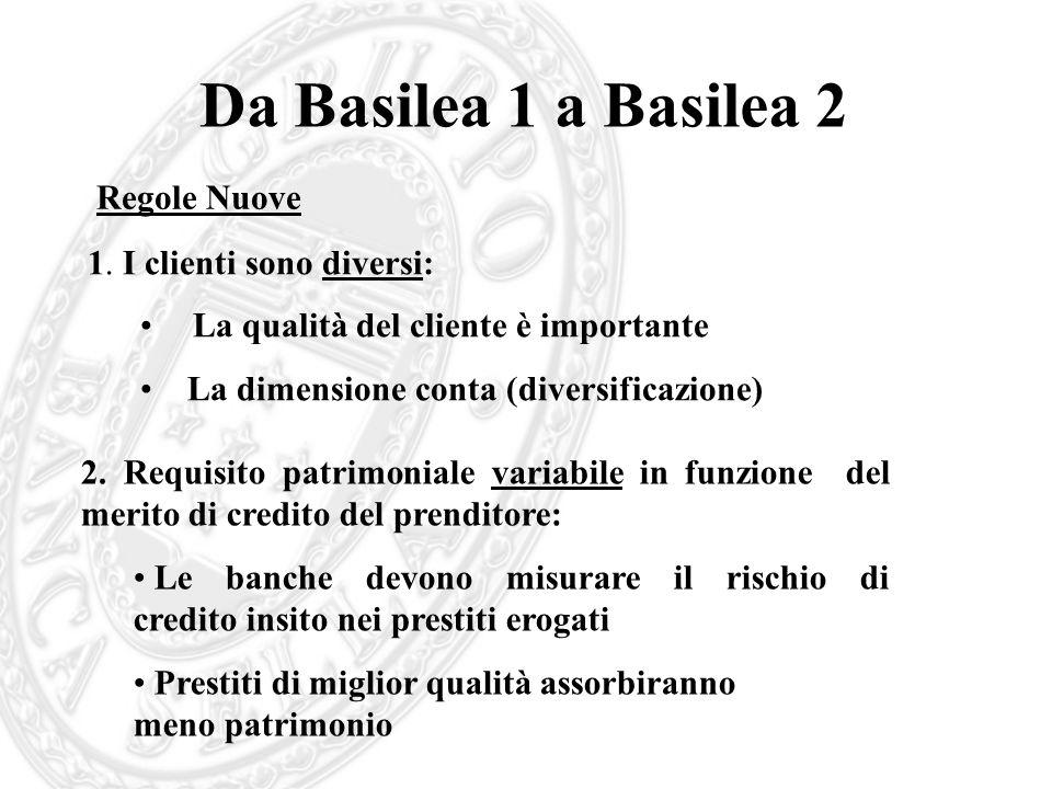 Da Basilea 1 a Basilea 2 1. I clienti sono diversi: La qualità del cliente è importante La dimensione conta (diversificazione) 2. Requisito patrimonia