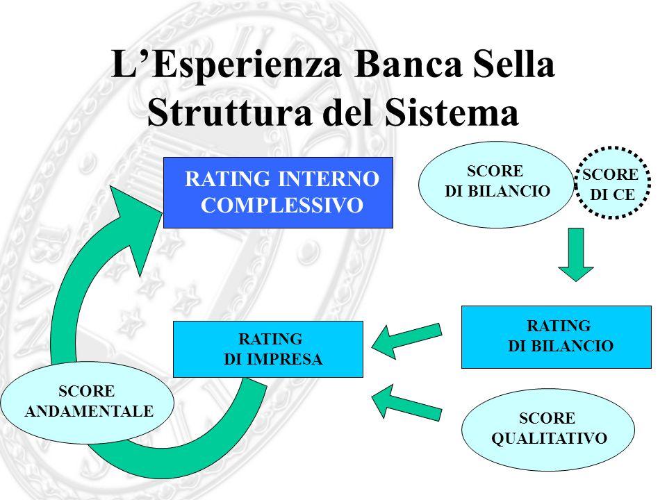 LEsperienza Banca Sella Struttura del Sistema RATING INTERNO COMPLESSIVO SCORE ANDAMENTALE SCORE QUALITATIVO RATING DI IMPRESA RATING DI BILANCIO SCOR