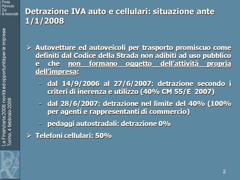 La Finanziaria 2008, novità ed opportunità per le imprese Torino, 4 febbraio 2008 2 Autovetture ed autoveicoli per trasporto promiscuo come definiti d