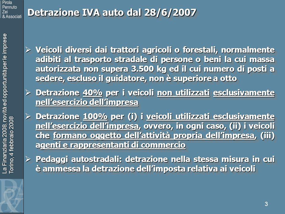 La Finanziaria 2008, novità ed opportunità per le imprese Torino, 4 febbraio 2008 3 Detrazione IVA auto dal 28/6/2007 Detrazione IVA auto dal 28/6/200