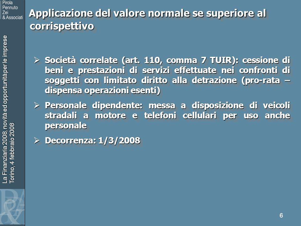 La Finanziaria 2008, novità ed opportunità per le imprese Torino, 4 febbraio 2008 6 Applicazione del valore normale se superiore al corrispettivo Appl
