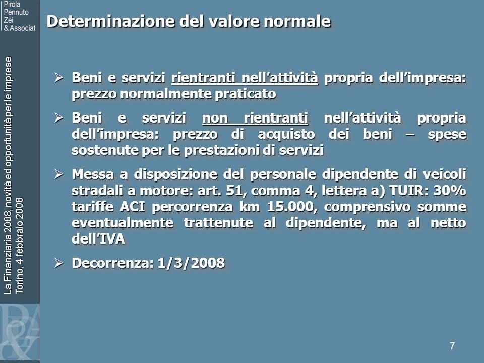 La Finanziaria 2008, novità ed opportunità per le imprese Torino, 4 febbraio 2008 7 Determinazione del valore normale Determinazione del valore normal