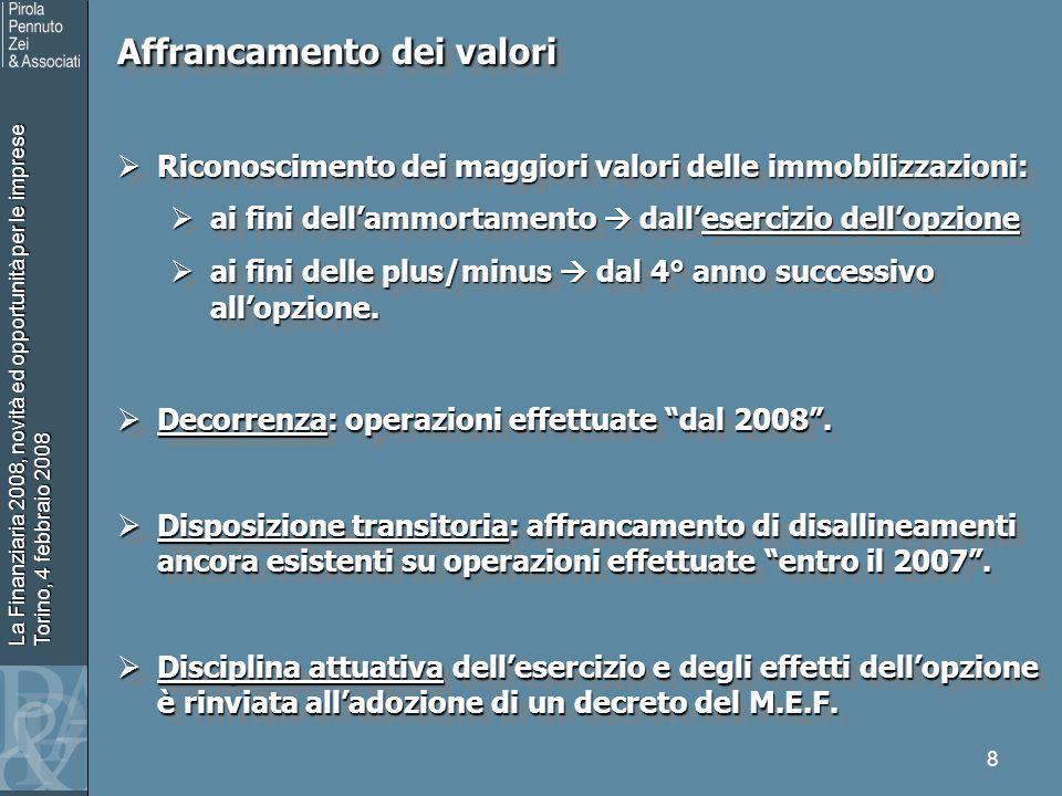La Finanziaria 2008, novità ed opportunità per le imprese Torino, 4 febbraio 2008 9 Affrancamento dei valori Il decreto M.E.F.
