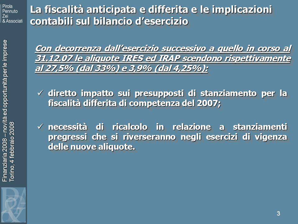 Finanziaria 2008 – novità ed opportunità per le imprese Torino, 4 febbraio 2008 3 La fiscalità anticipata e differita e le implicazioni contabili sul bilancio desercizio Con decorrenza dallesercizio successivo a quello in corso al 31.12.07 le aliquote IRES ed IRAP scendono rispettivamente al 27,5% (dal 33%) e 3,9% (dal 4,25%): diretto impatto sui presupposti di stanziamento per la fiscalità differita di competenza del 2007; diretto impatto sui presupposti di stanziamento per la fiscalità differita di competenza del 2007; necessità di ricalcolo in relazione a stanziamenti pregressi che si riverseranno negli esercizi di vigenza delle nuove aliquote.