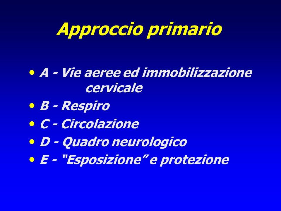 Approccio primario A - Vie aeree ed immobilizzazione cervicale B - Respiro C - Circolazione D - Quadro neurologico E - Esposizione e protezione
