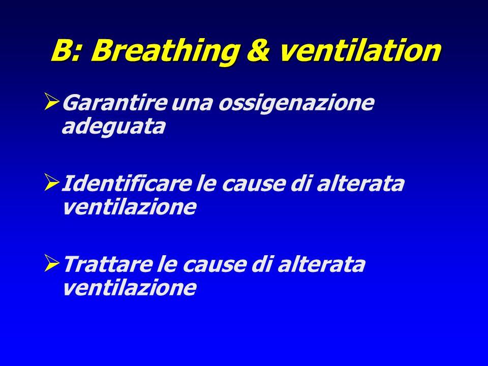 B: Breathing & ventilation Garantire una ossigenazione adeguata Identificare le cause di alterata ventilazione Trattare le cause di alterata ventilazi