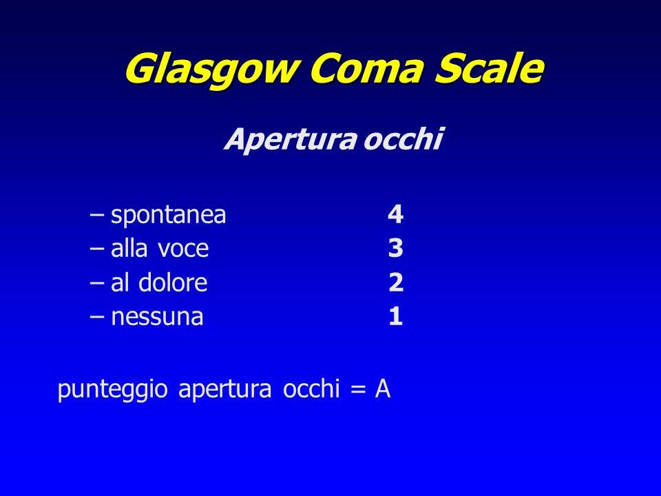Glasgow Coma Scale Apertura occhi –spontanea4 –alla voce3 –al dolore2 –nessuna1 punteggio apertura occhi = A