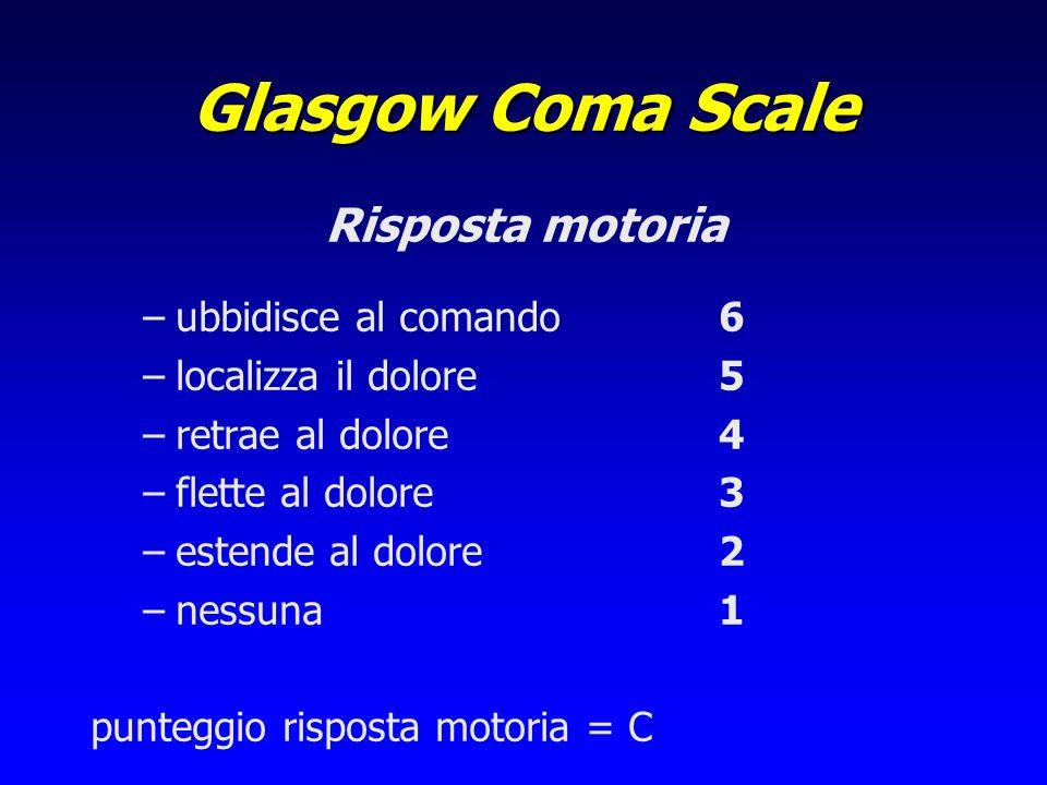 Glasgow Coma Scale Risposta motoria –ubbidisce al comando6 –localizza il dolore5 –retrae al dolore4 –flette al dolore3 –estende al dolore2 –nessuna 1