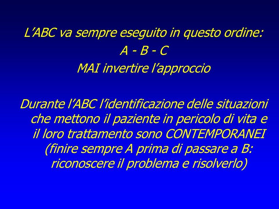 LABC va sempre eseguito in questo ordine: A - B - C MAI invertire lapproccio Durante lABC lidentificazione delle situazioni che mettono il paziente in