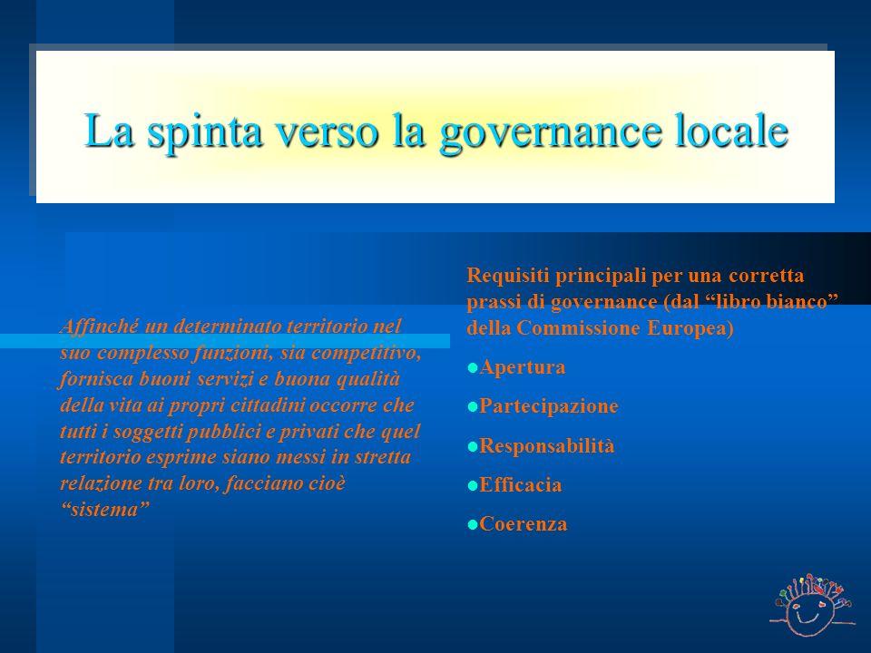 La spinta verso la governance locale Affinché un determinato territorio nel suo complesso funzioni, sia competitivo, fornisca buoni servizi e buona qu