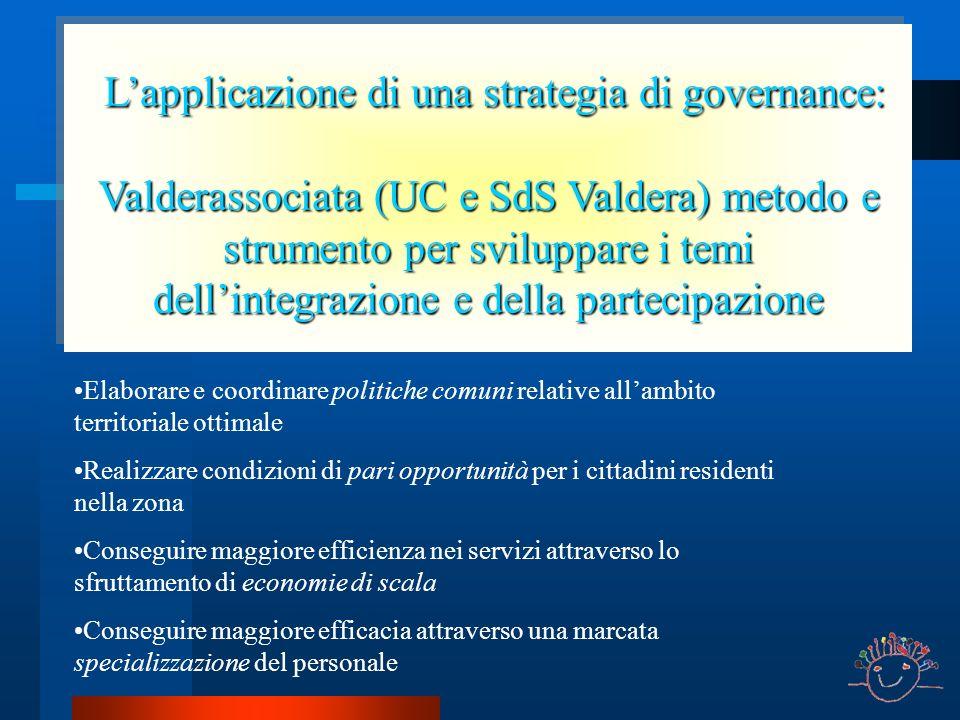 Lapplicazione di una strategia di governance: Lapplicazione di una strategia di governance: Valderassociata (UC e SdS Valdera) metodo e strumento per