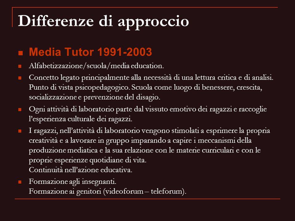 Differenze di approccio Media Tutor 1991-2003 Alfabetizzazione/scuola/media education. Concetto legato principalmente alla necessità di una lettura cr
