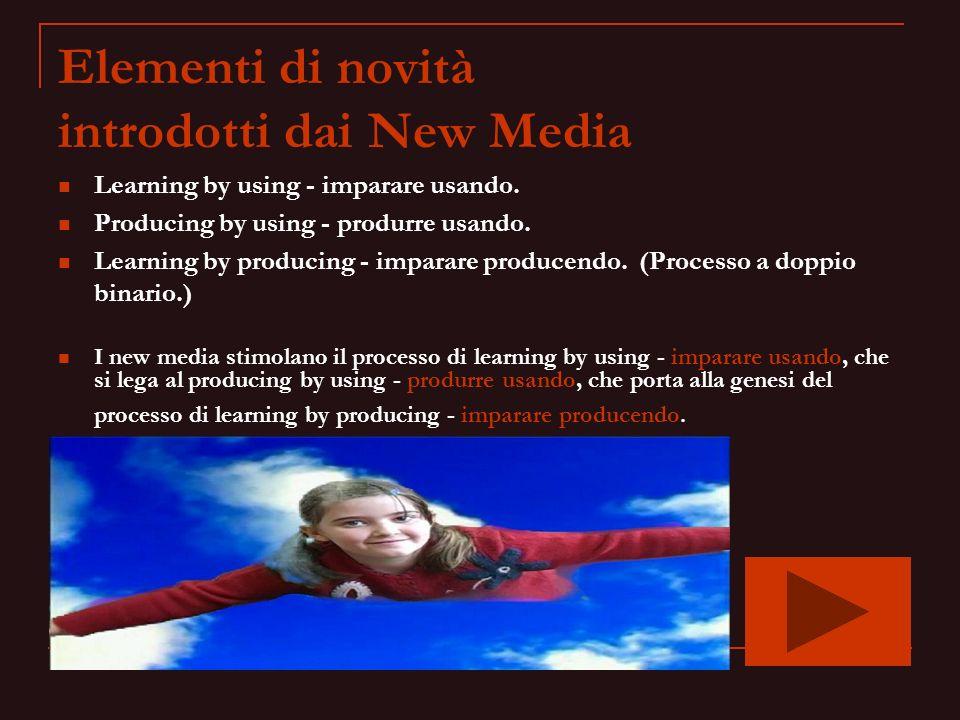 Elementi di novità introdotti dai New Media Learning by using - imparare usando. Producing by using - produrre usando. Learning by producing - imparar