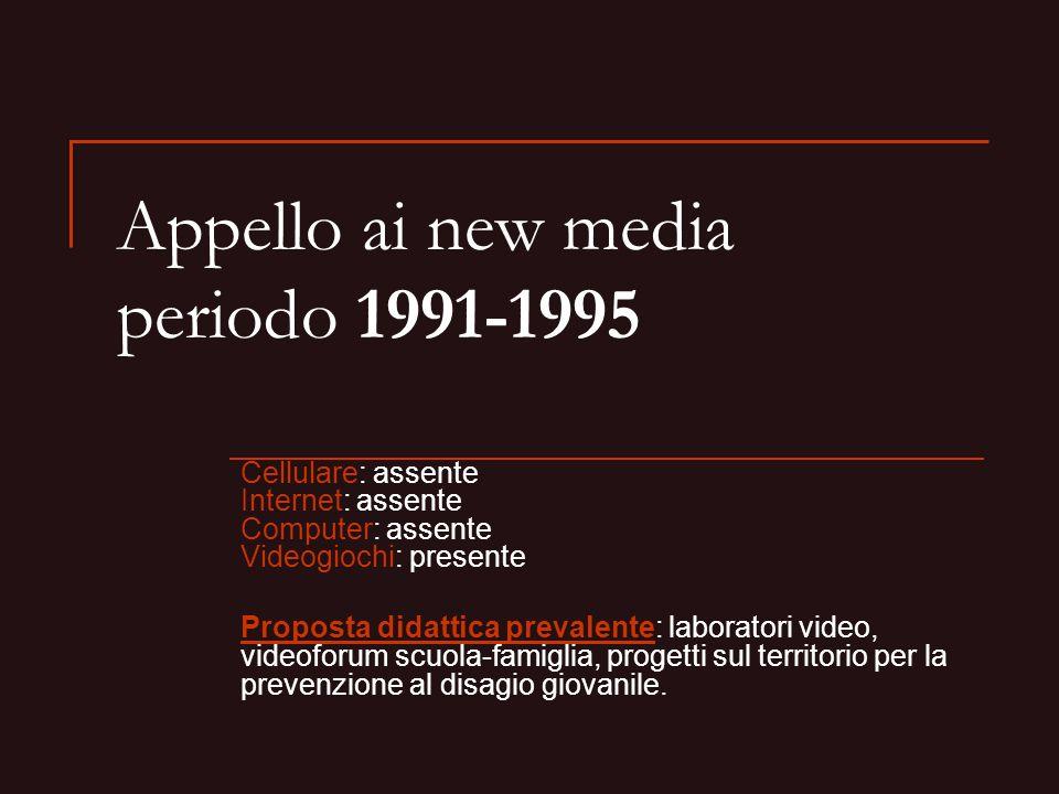Appello ai new media periodo 1991-1995 Cellulare: assente Internet: assente Computer: assente Videogiochi: presente Proposta didattica prevalente: lab