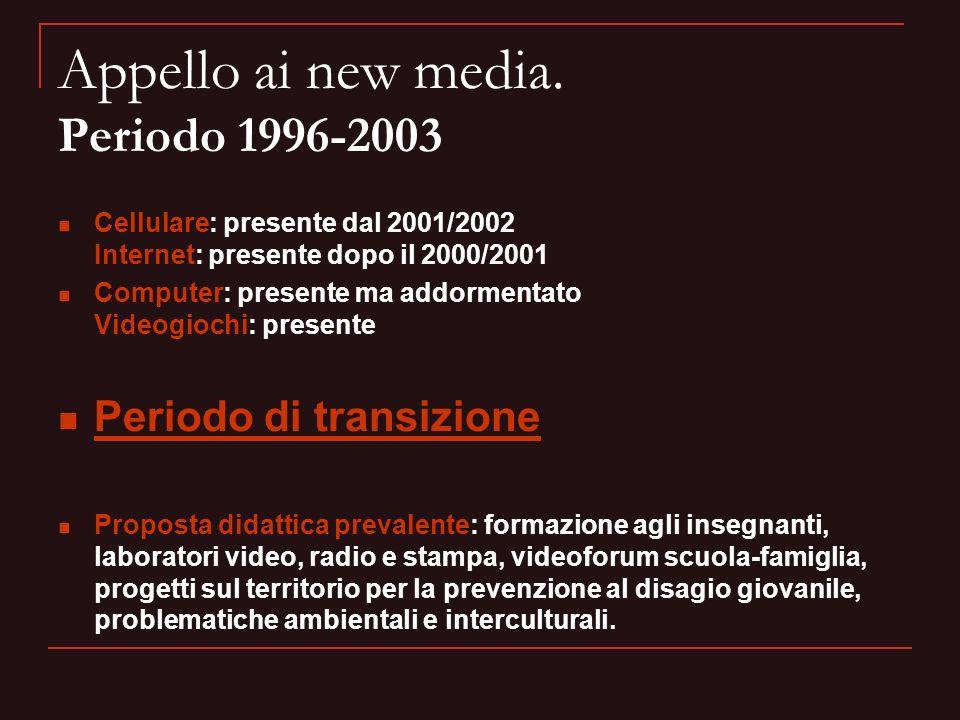 Appello ai new media. Periodo 1996-2003 Cellulare: presente dal 2001/2002 Internet: presente dopo il 2000/2001 Computer: presente ma addormentato Vide