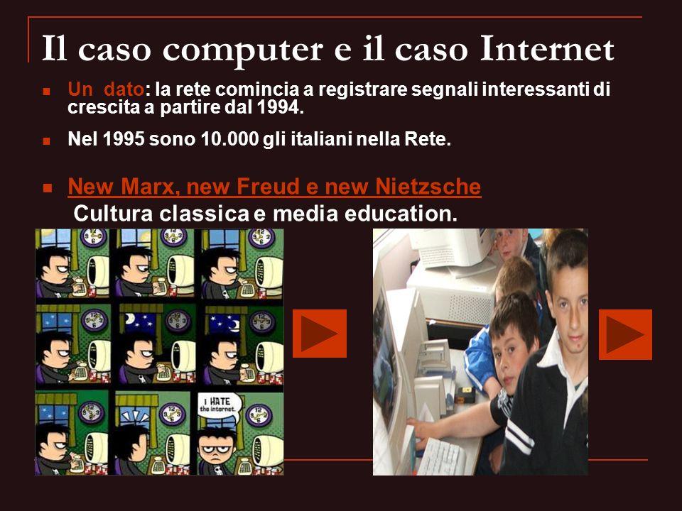 Il caso computer e il caso Internet Un dato: la rete comincia a registrare segnali interessanti di crescita a partire dal 1994. Nel 1995 sono 10.000 g