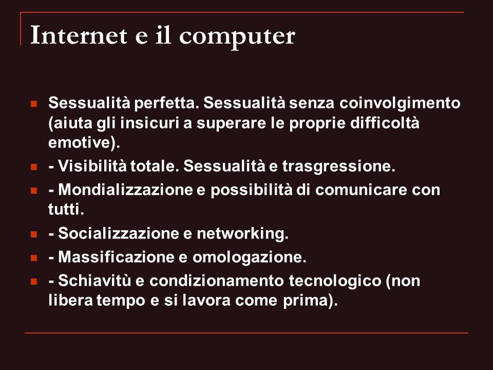 Internet e il computer Sessualità perfetta. Sessualità senza coinvolgimento (aiuta gli insicuri a superare le proprie difficoltà emotive). - Visibilit