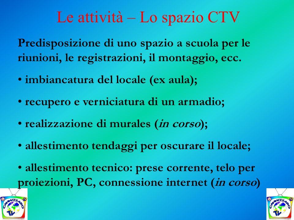 Le attività – Lo spazio CTV Predisposizione di uno spazio a scuola per le riunioni, le registrazioni, il montaggio, ecc. imbiancatura del locale (ex a