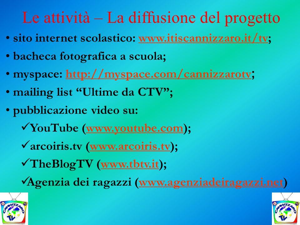 Le attività – La diffusione del progetto sito internet scolastico: www.itiscannizzaro.it/tv;www.itiscannizzaro.it/tv bacheca fotografica a scuola; mys