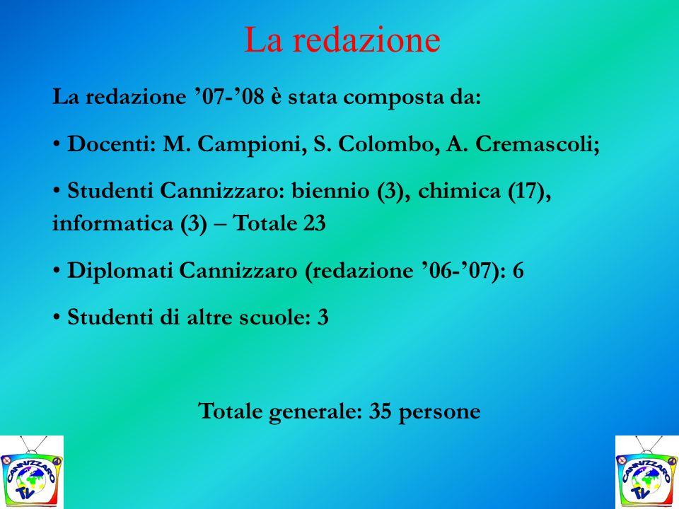 La redazione 07- 08 è stata composta da: Docenti: M. Campioni, S. Colombo, A. Cremascoli; Studenti Cannizzaro: biennio (3), chimica (17), informatica