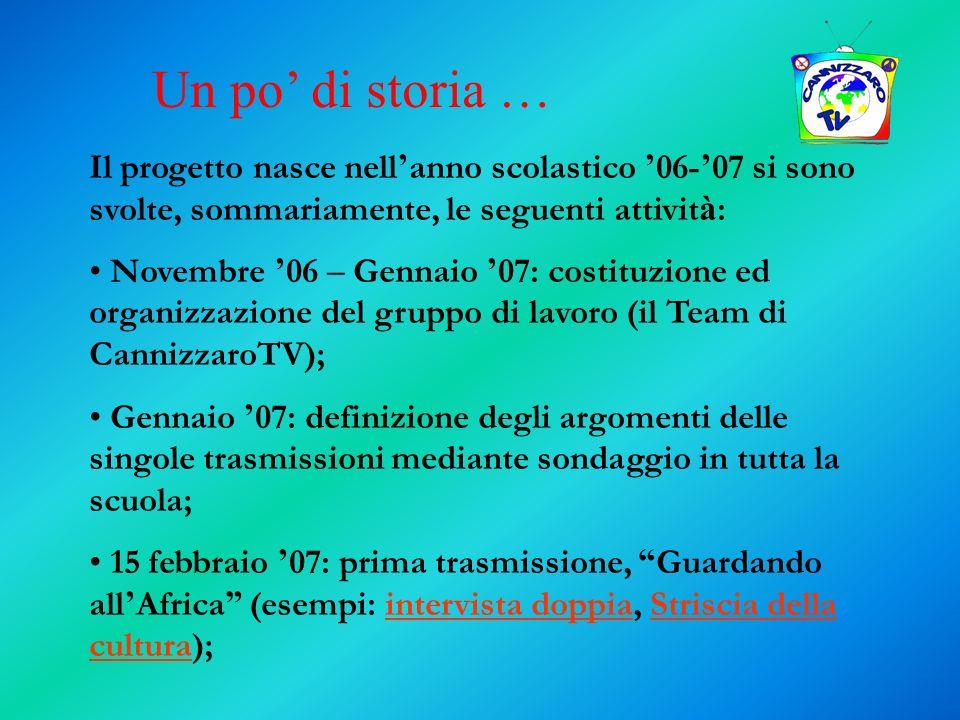 Il progetto nasce nell anno scolastico 06- 07 si sono svolte, sommariamente, le seguenti attivit à : Novembre 06 – Gennaio 07: costituzione ed organiz