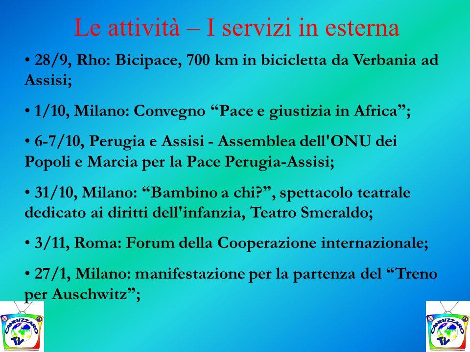28/9, Rho: Bicipace, 700 km in bicicletta da Verbania ad Assisi; 1/10, Milano: Convegno Pace e giustizia in Africa ; 6-7/10, Perugia e Assisi - Assemb