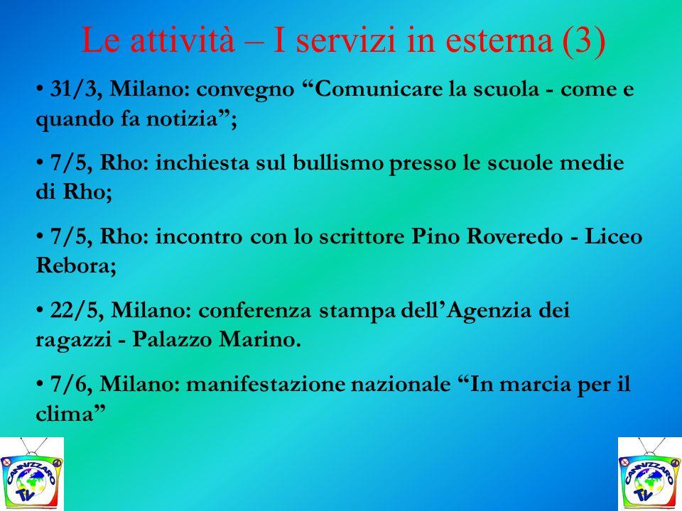 31/3, Milano: convegno Comunicare la scuola - come e quando fa notizia ; 7/5, Rho: inchiesta sul bullismo presso le scuole medie di Rho; 7/5, Rho: inc