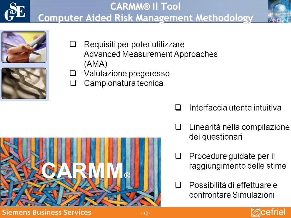 CARMM® Il Tool Computer Aided Risk Management Methodology Interfaccia utente intuitiva Linearità nella compilazione dei questionari Procedure guidate per il raggiungimento delle stime Possibilità di effettuare e confrontare Simulazioni CARMM ® Requisiti per poter utilizzare Advanced Measurement Approaches (AMA) Valutazione pregeresso Campionatura tecnica