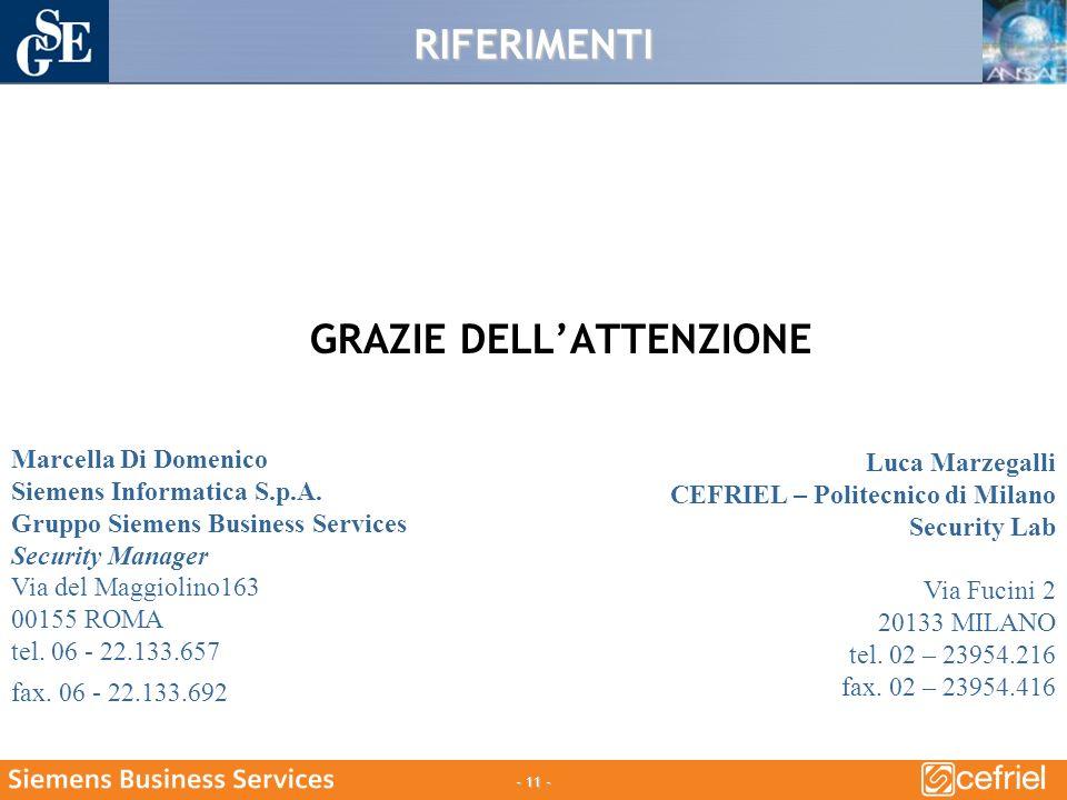 - 11 - RIFERIMENTI GRAZIE DELLATTENZIONE Luca Marzegalli CEFRIEL – Politecnico di Milano Security Lab Via Fucini 2 20133 MILANO tel.