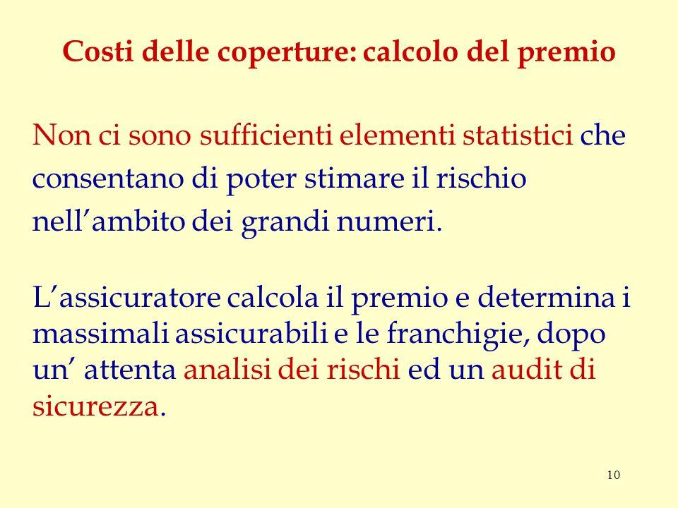 10 Costi delle coperture: calcolo del premio Non ci sono sufficienti elementi statistici che consentano di poter stimare il rischio nellambito dei grandi numeri.